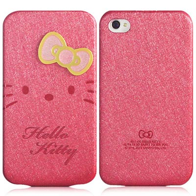 Hello Kitty for iPhone 4/4S摺疊式皮套-絢麗桃