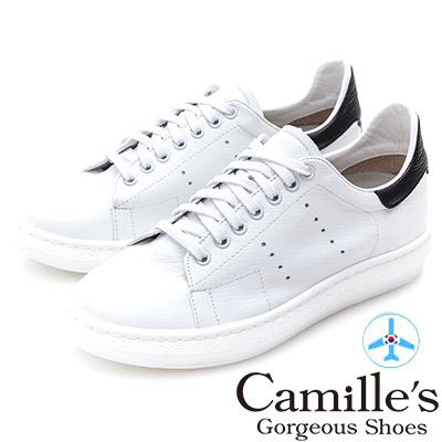 Camille's 韓國空運-正韓製-牛皮洞洞綁帶內增高休閒鞋-白色