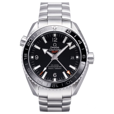 OMEGA 歐米茄 Planet Ocean 600米GMT鍊帶黑面白字腕錶-43.5mm