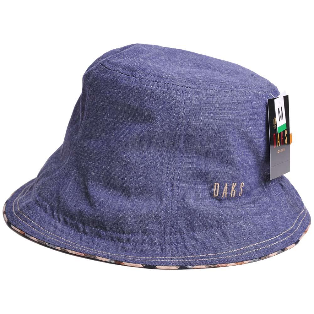 DAKS 品牌格紋滾邊刺繡LOGO單寧布漁夫帽(牛仔藍)