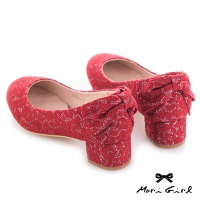 Mori girl蕾絲後蝴蝶結低跟婚鞋 紅