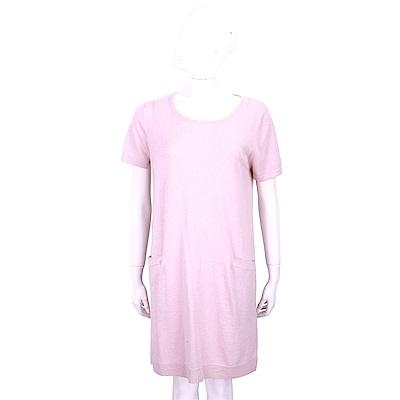 ALLUDE 喀什米爾粉色雙口袋針織羊毛洋裝