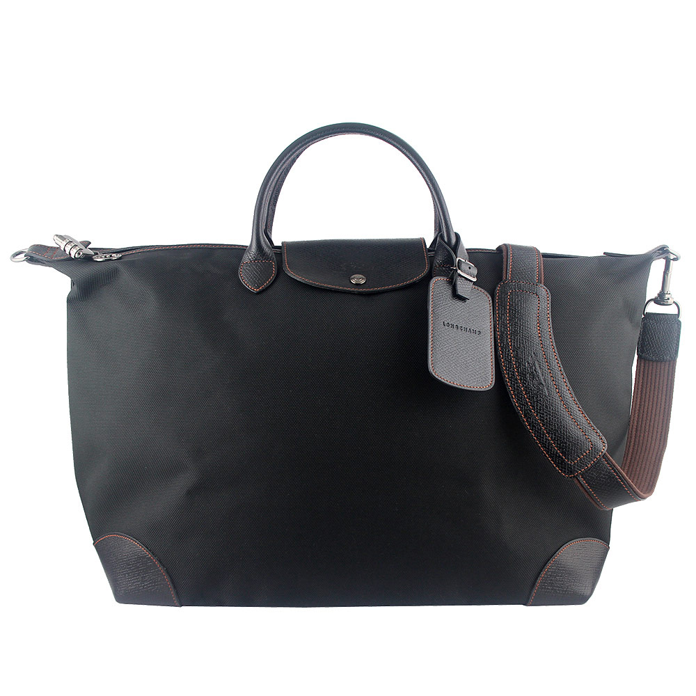 Longchamp Boxford 厚質帆布短帶手提/斜背旅行袋(黑色)LONGCHAMP