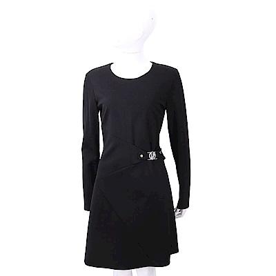 VERSACE VJ 金屬側釦細節黑色長袖絲質洋裝