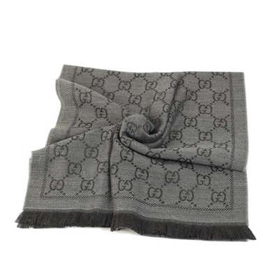 GUCCI LOGO 羊毛寬版圍巾(鐵灰)