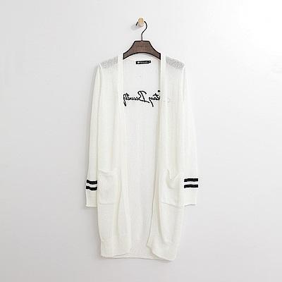 Hang Ten - 女裝 - 背繡字針織長外套-白色