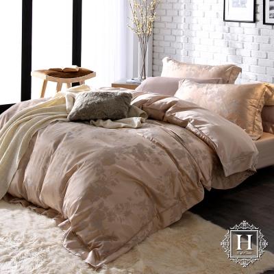 HOYA H Series璀璨時光 加大四件式臻絲長纖棉緹花被套床包組 贈蠶絲被