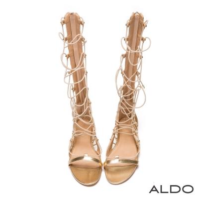 ALDO-羅馬女戰士交叉鏤空繫帶後拉鏈涼鞋-奢華金色