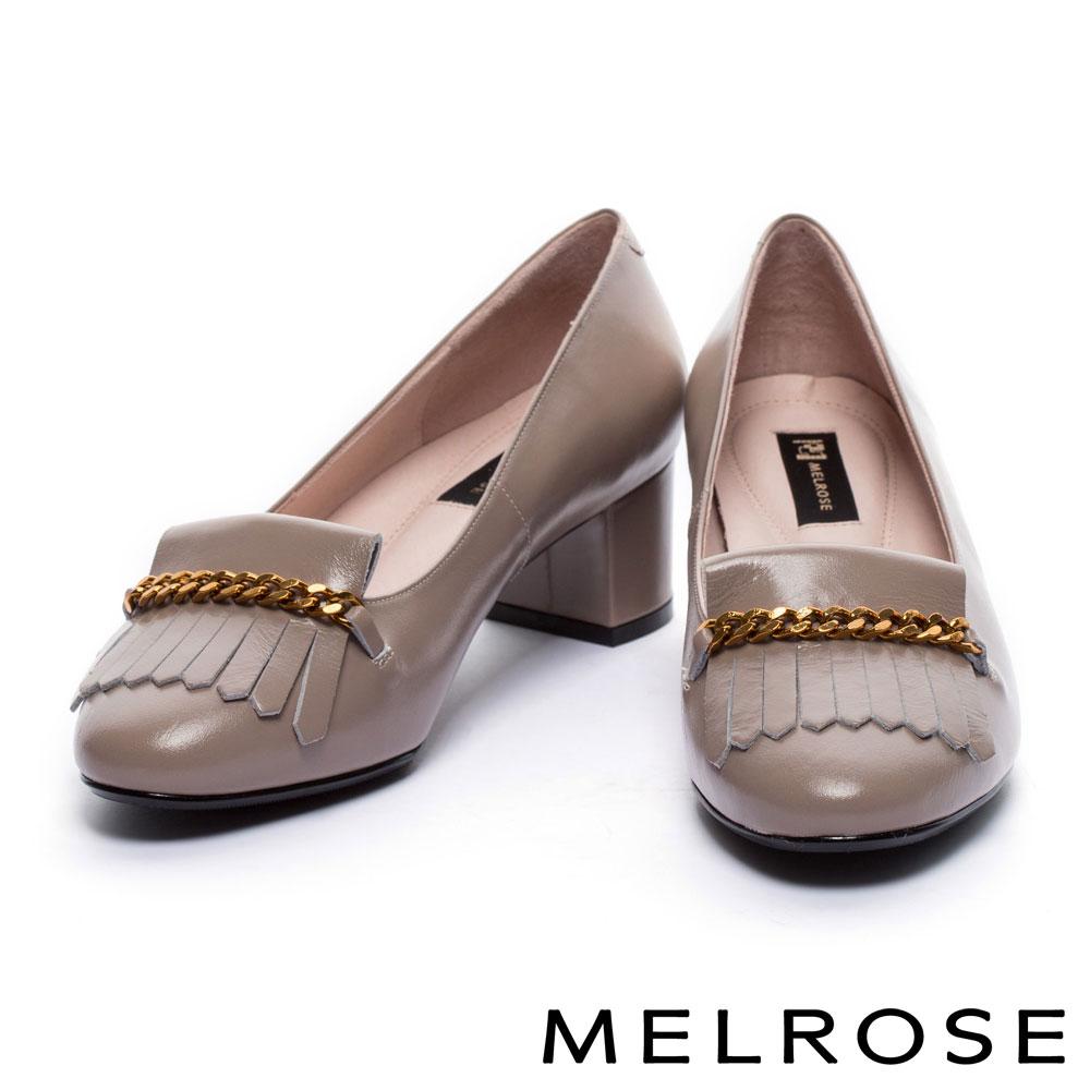 高跟鞋 MELROSE 高貴典雅金屬鍊流蘇設計牛皮尖頭高跟鞋-米