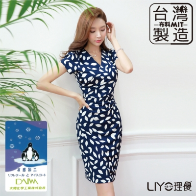 LIYO理優MIT印花V領合身洋裝-深藍