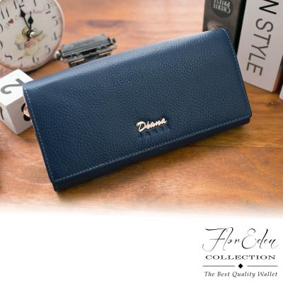 DF Flor Eden皮夾 - 時尚真皮經典繽紛多卡零錢長夾-深藍
