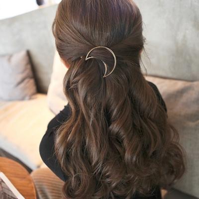 簡約幾何月亮造型金屬邊髮飾夾子-2入-ZARATA