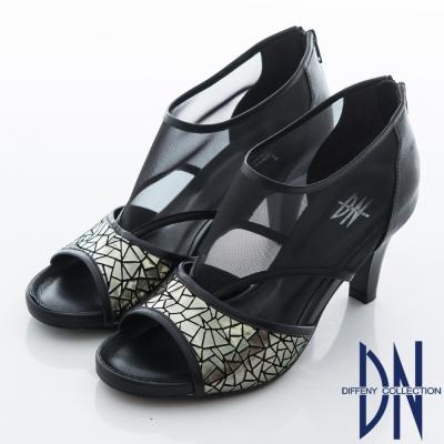 DN-沁涼夏季-性感簍空羊皮高跟鞋-黑