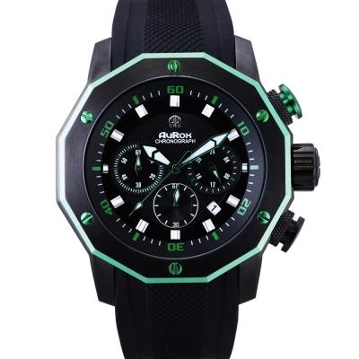AuRox歐銳時 城市菁英三眼計時不袗石英錶(AR295-亮眼綠)-48mm