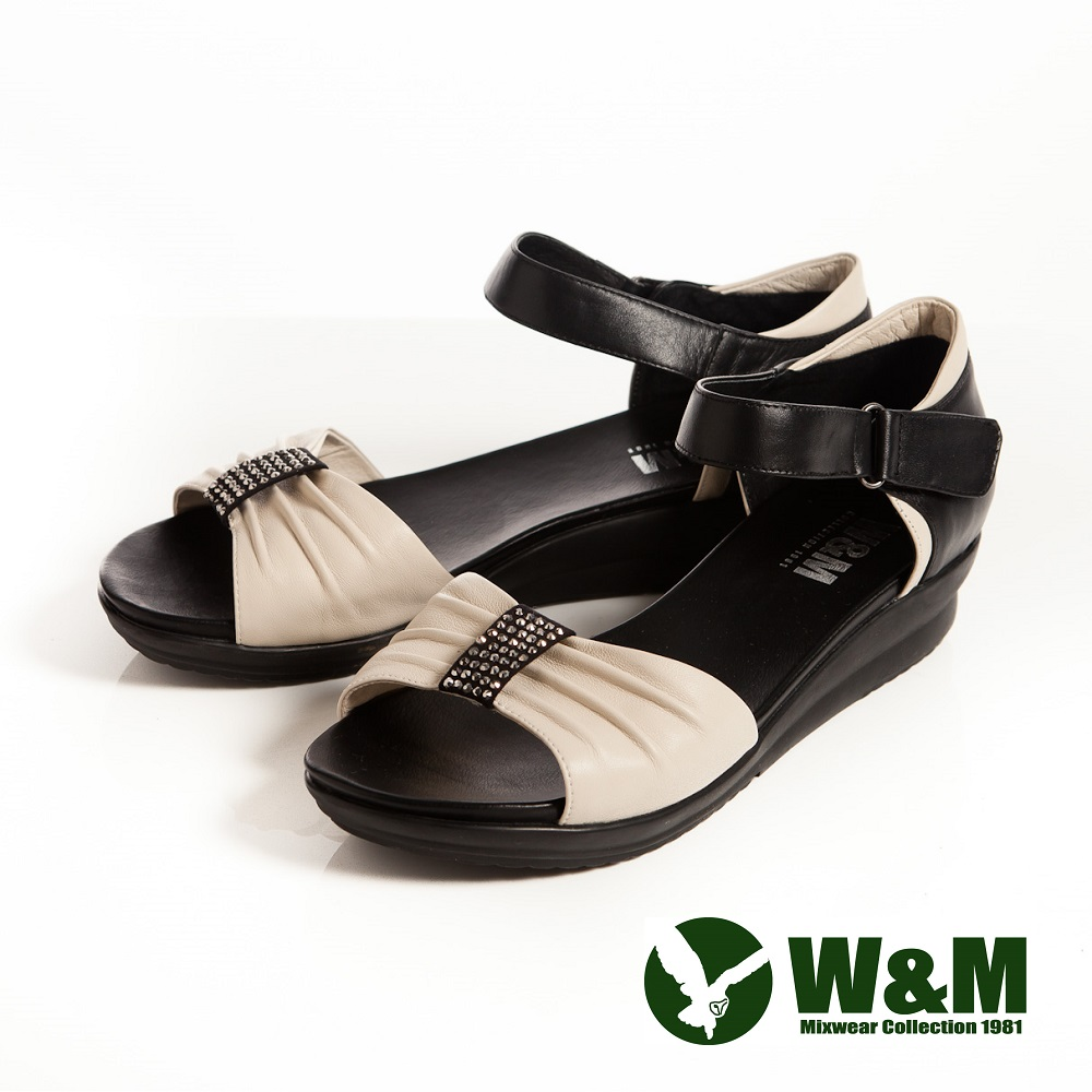 W&M 耀眼亮鑽 魔鬼氈淑女中低跟平底涼鞋-米