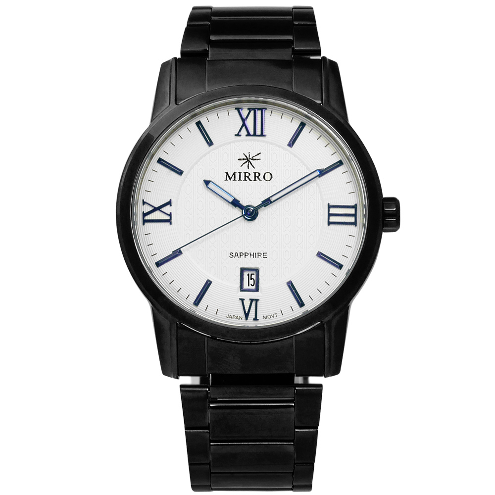 MIRRO 米羅 簡約精細藍寶石水晶玻璃日期不鏽鋼手錶- 白x鍍黑/37mm