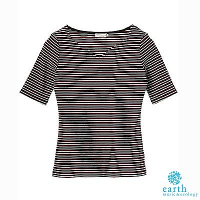 earth music 素面/條紋V領短袖合身上衣