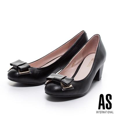 AS-金屬飾片蝴蝶結粗跟鞋-黑