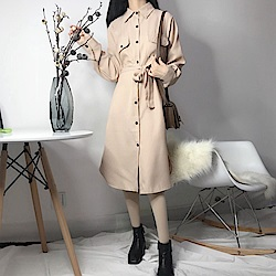 La Belleza直條紋附綁帶排釦雙口袋開叉襯衫洋裝