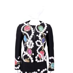BOUTIQUE MOSCHINO 黑色珠寶圖印長袖外套