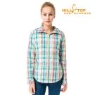 【hilltop山頂鳥】女款吸濕科技保暖棉長襯衫C05F16粉底綠格子