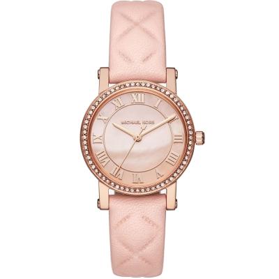 MICHAEL KORS璀璨晶鑽時尚真皮手錶(MK2683)-珍珠貝X玫瑰金/28mm