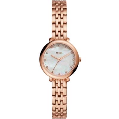 FOSSIL 優雅晶鑽珍珠貝時尚手錶-玫瑰金//27mm
