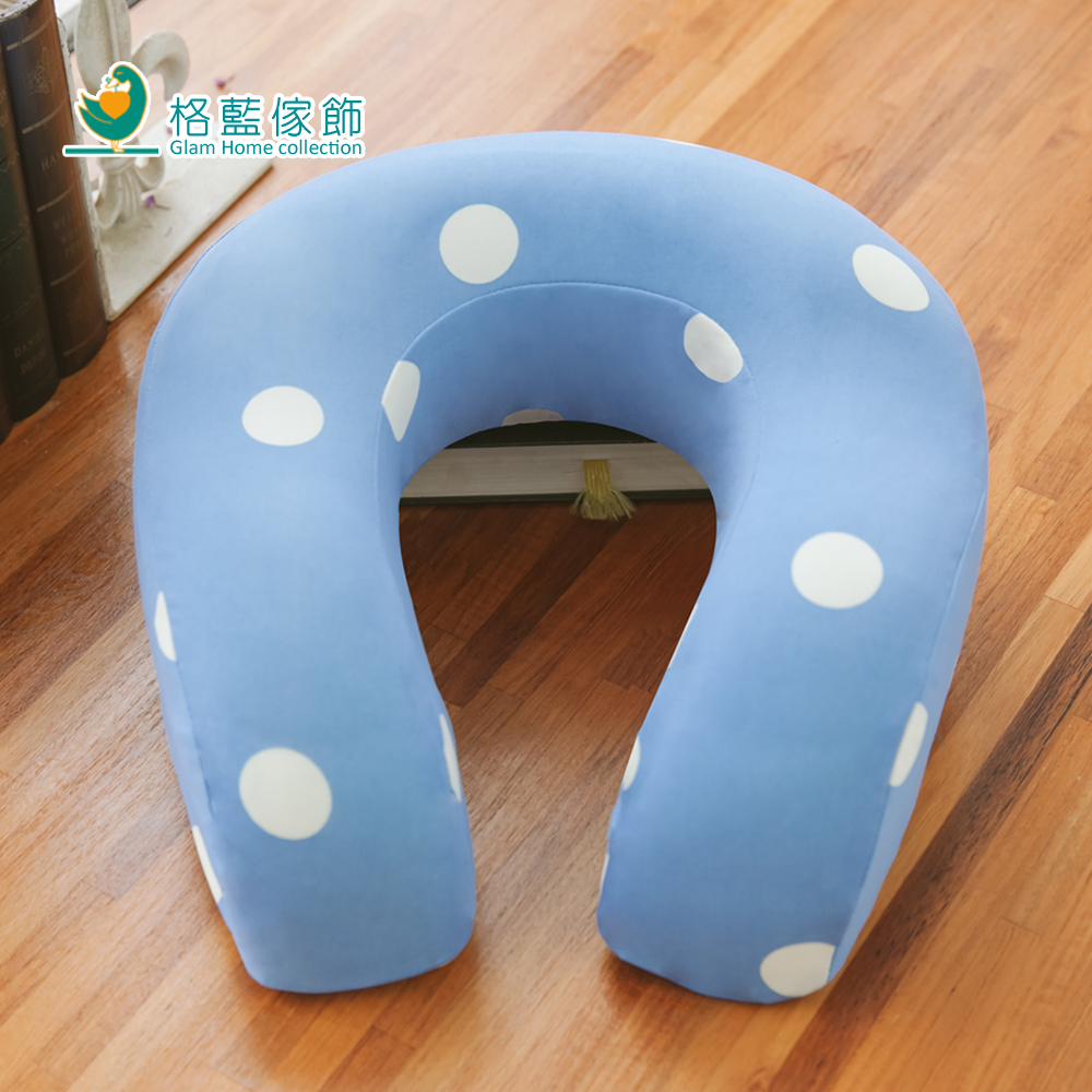 格藍傢飾 水玉涼感舒壓護頸枕(大)-蘇打藍
