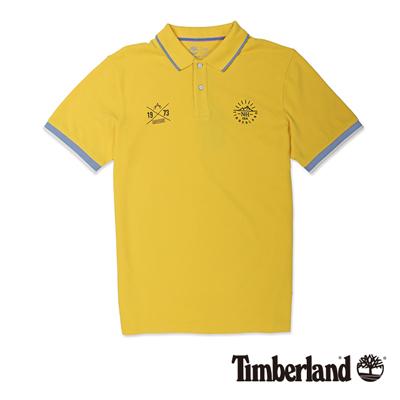 Timberland-男款亮黃色拼接刺繡短袖Polo衫