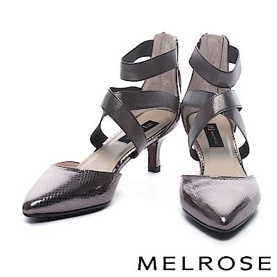 高跟鞋 MELROSE 奢華蛇紋牛皮尖頭交叉繫帶高跟鞋-古銅