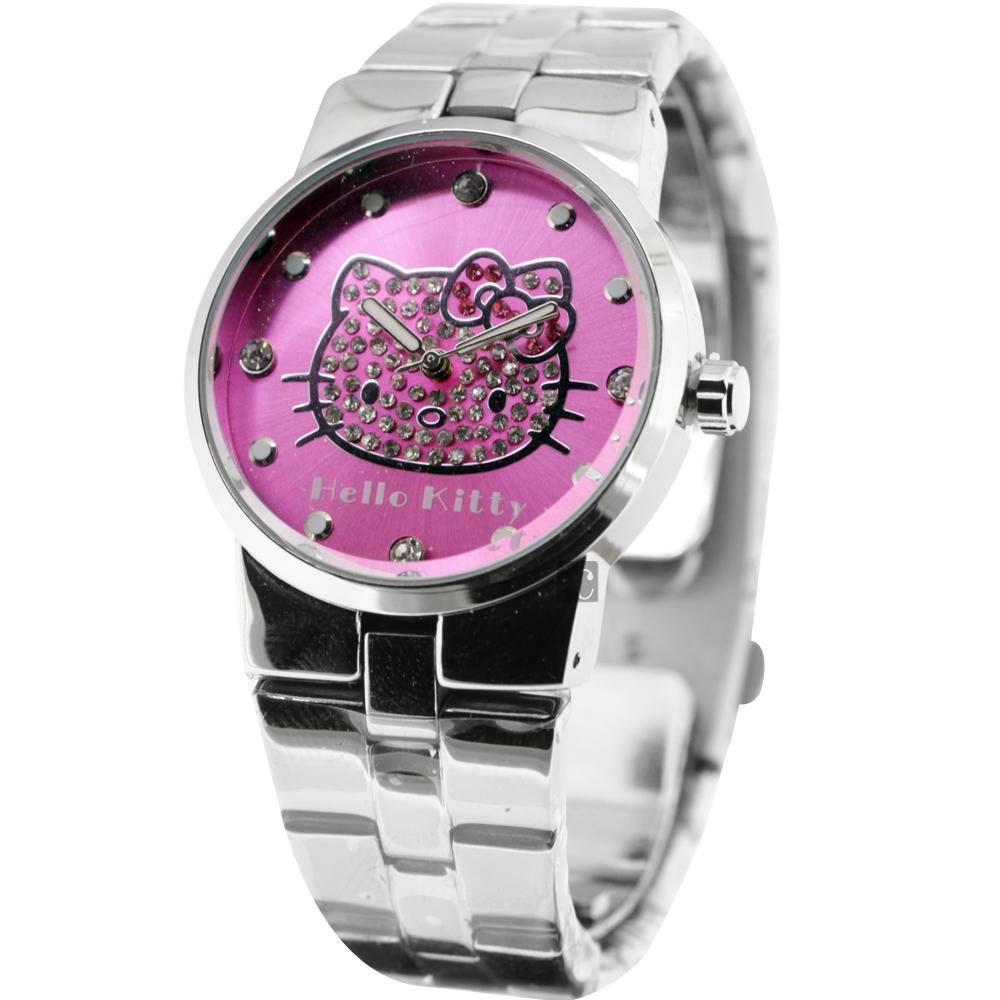 HELLO KITTY 甜心貓晶鑽腕錶-粉紫x銀/34mm