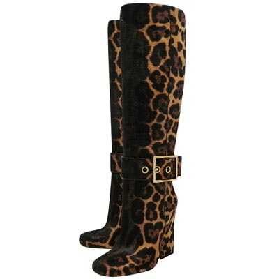 GUCCI 咖啡色豹紋時尚高跟長靴-36.5/37/37.5號