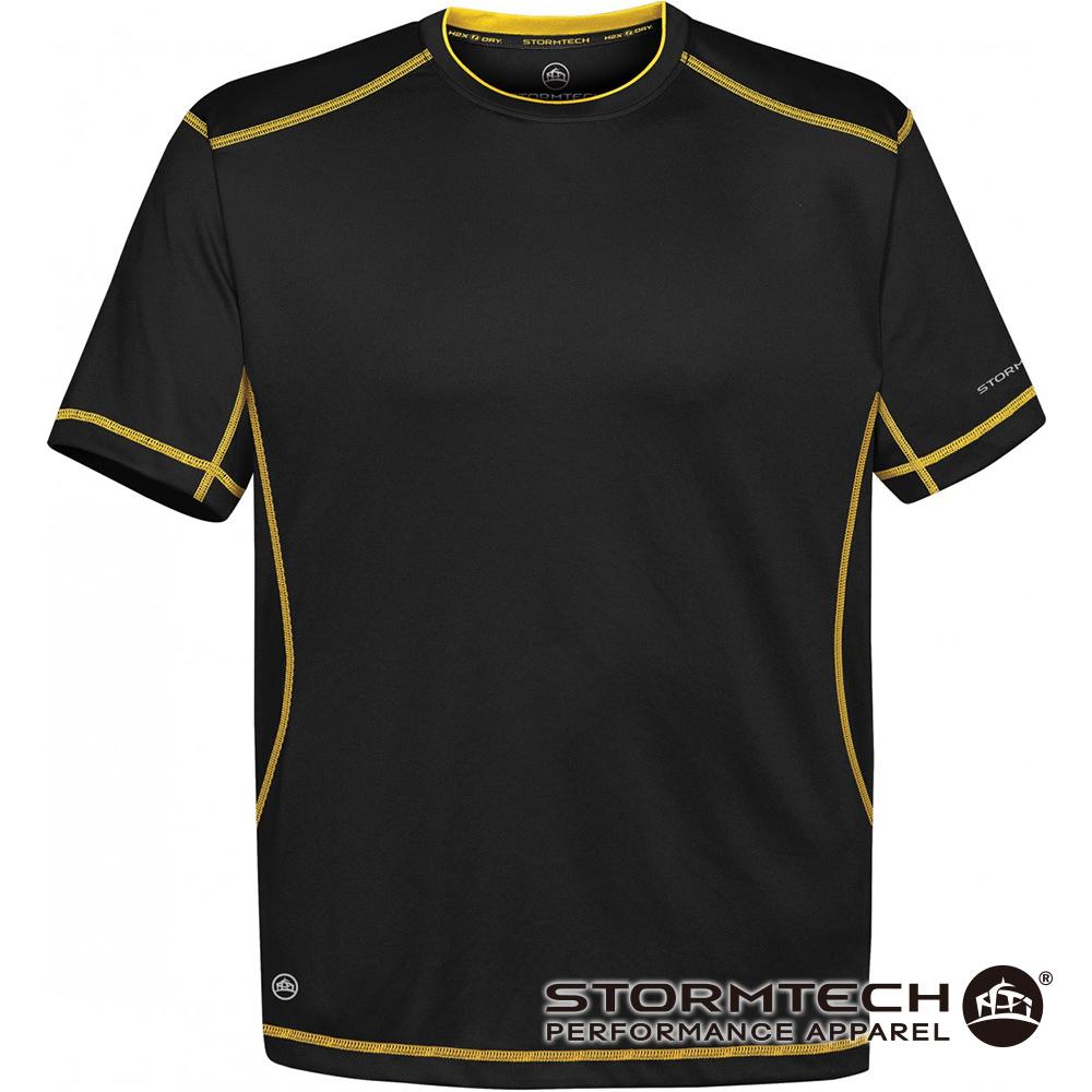 【加拿大STORMTECH】舒適彈力車縫機能衫SAT400-男-黑黃