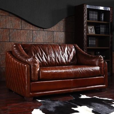 MUSE - Miguel米蓋爾復古尊爵菱格紋牛皮雙人沙發