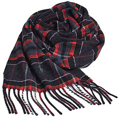 RALPH LAUREN POLO 義大利製小馬刺繡LOGO格紋羊毛披肩/圍巾(灰底紅格)