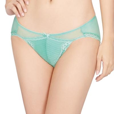 思薇爾 撩波系列M-XL蕾絲低腰三角褲(泉水綠)