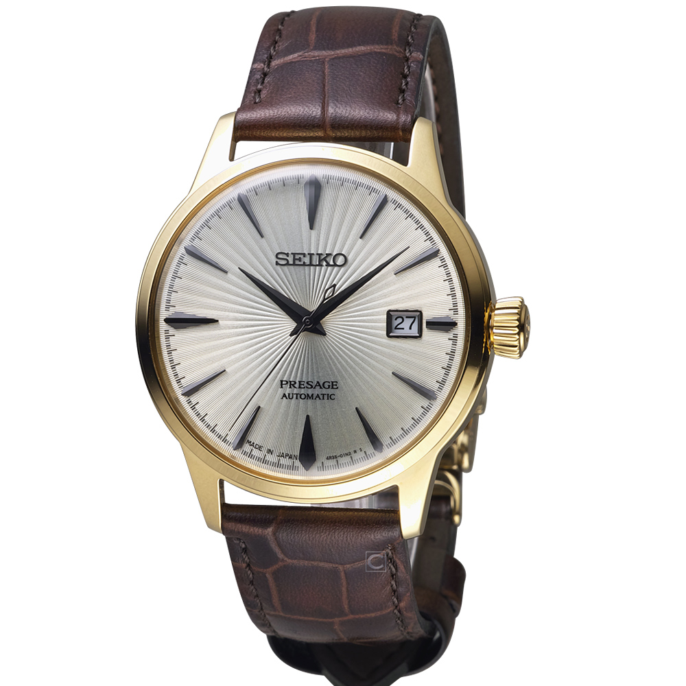 精工 Presage雞尾酒系列儲存顯示機械腕錶(4R35-01T0G)白x金/41mm