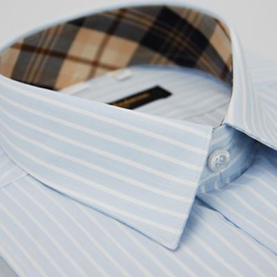 金‧安德森 經典格紋繞領藍色寬條紋短袖襯衫