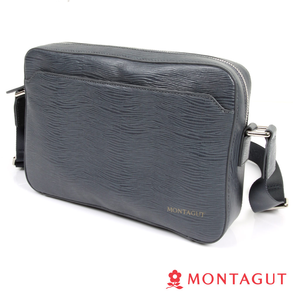 MONTAGUT夢特嬌-Cross Bag頭層牛皮橫式側包(水波紋)