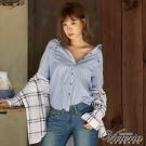 Victoria 磨毛格紋腰帶長版長袖襯衫-女-藍底紅細格