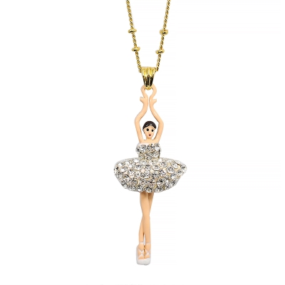 Les Nereides 優雅芭蕾舞女孩系列 亮鑽舞者金色項鍊