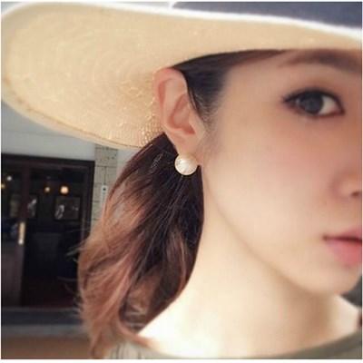 梨花HaNA-新到貨大尺寸日本定制棉花珍珠耳環夾式