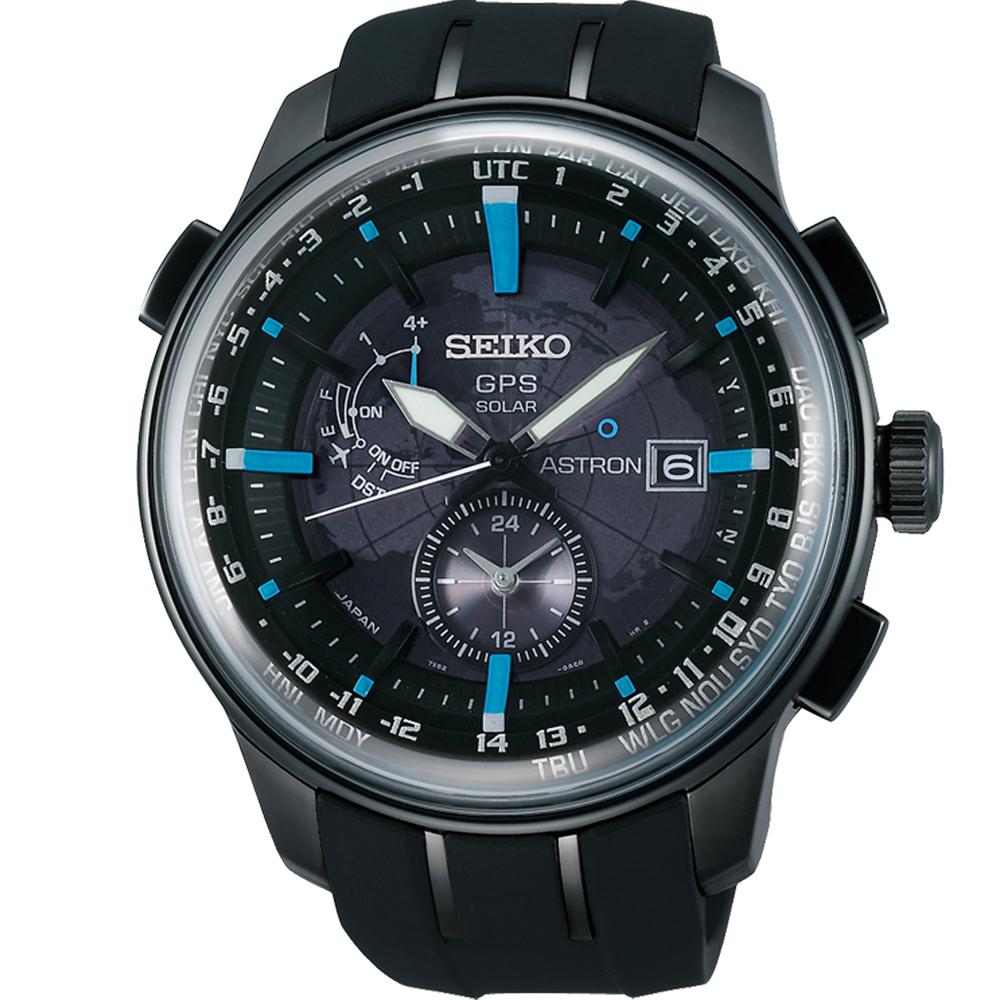 SEIKO ASTRON GPS太陽能衛星電波腕錶(SAS033J1)-黑x藍/48mm