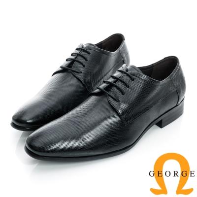GEORGE-經典素面細格紋綁帶真皮紳士鞋-黑色