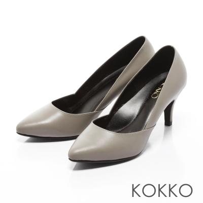 KOKKO-經典復刻尖頭真皮側挖低高跟鞋-灰