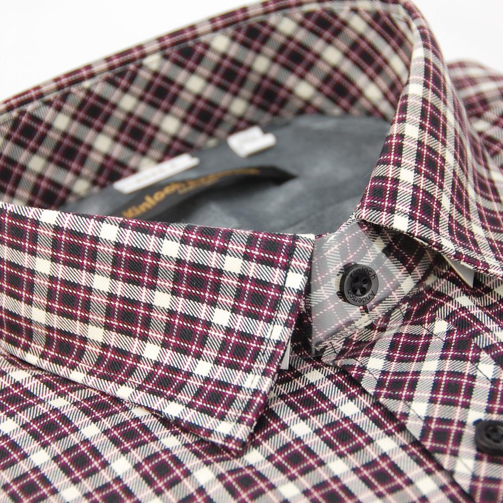 金‧安德森 紫色格紋內灰刷毛保暖長袖襯衫