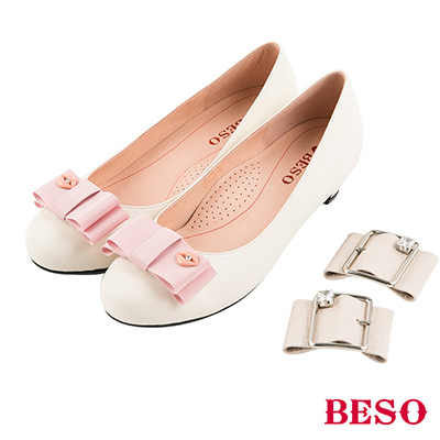BESO 知性浪漫 2ways氣質典雅全真皮換扣低跟鞋~米