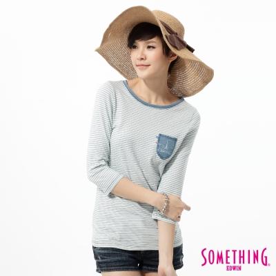SOMETHING-優雅條紋七分袖T恤-女-重漂藍
