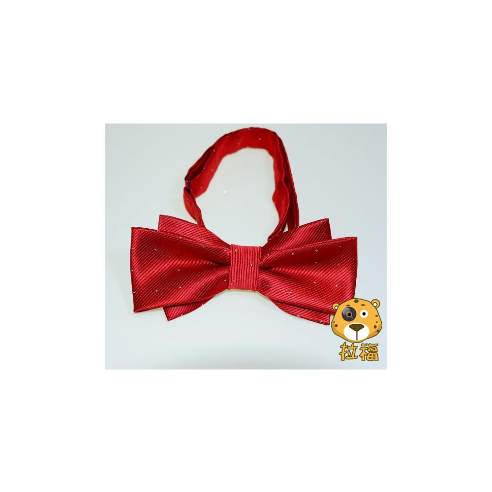 拉福 飛翼色織銀絲點領結新郎結婚領結糾糾 (大紅色)