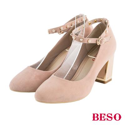 BESO氣質女伶 珍珠繫帶全真皮粗跟鞋~米